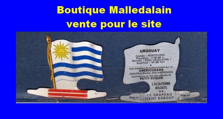 Drapeau métallique des Biscuits l'Alsacienne - Uruguay