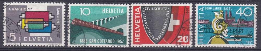 Suisse 1957 586-89 ° Graphic Train St-Gothard Protection civile Bimillénaire de Bâle