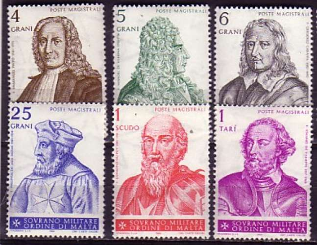 Ordre de Malte  6 timbres N**  (personnalités)