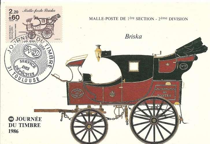 France N° 2410 carte maximum / Journée du timbre 1986 Cote 3.00 €