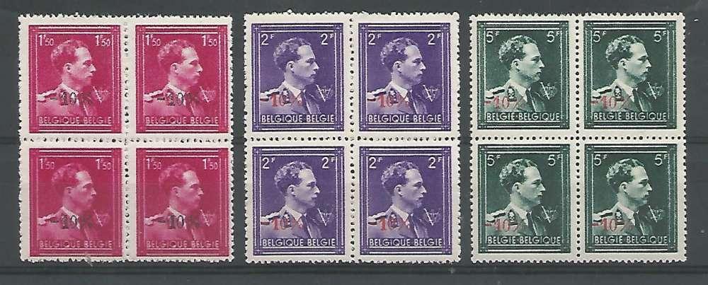 Belgique - 1946 - Léopold III Col Ouvert V Couronne -10% - Tp n° 724N / P - Neuf ** Bloc de 4