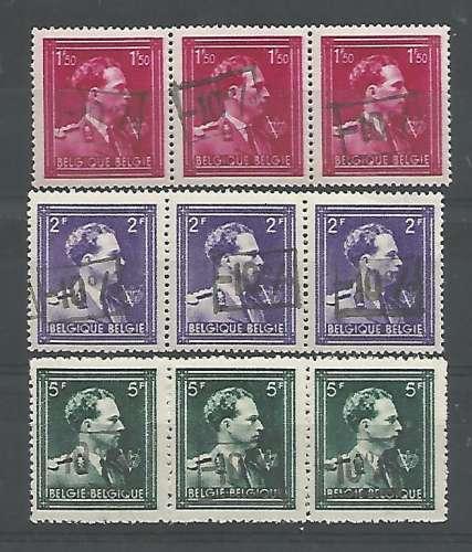 Belgique - 1946 - Léopold III Col Ouvert V Couronne -10% - Tp n° 724N / P - Neuf ** Bande de 3