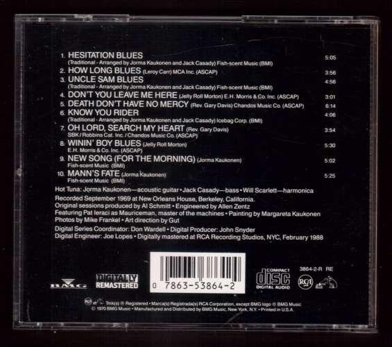 1988 US CD Album Reissue Hot Tuna Live at the New Orleans house Berkley RCA 3864-2-R