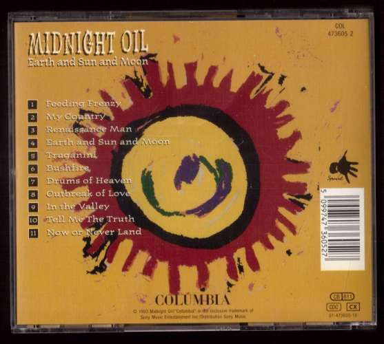 1993  Europe CD Midnight Oil Earth and un and moon Colombia 1 473605-10