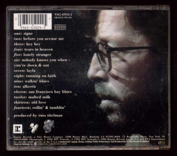 1992 Europe CD  Album Eric Clapton  Unplugged Reprise Records 9362-45024-2  France WE 833