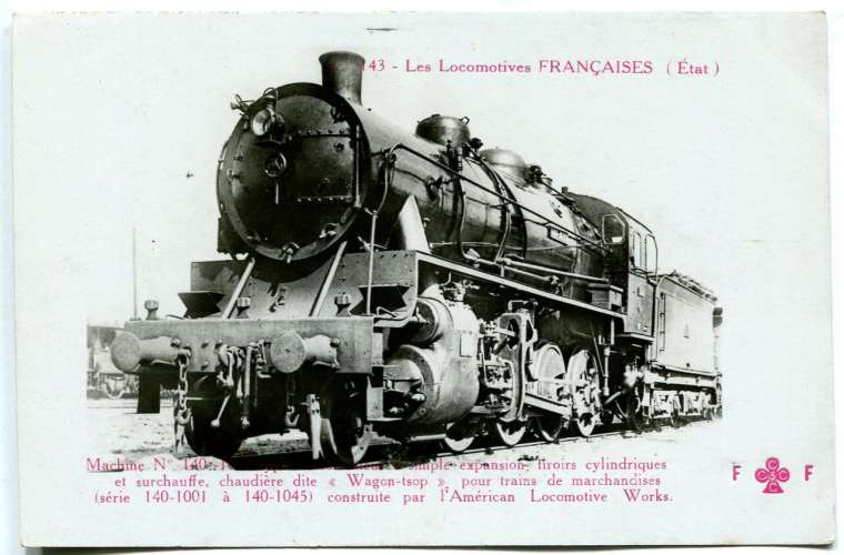 Les locomotives françaises FLEURY - Etat C 143 Machine 140 1033 consolidateur simple expansion
