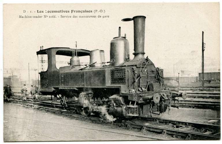 Les locomotives françaises FLEURY - PO D 1Machine tender 1066 service des manoeuvres de gare