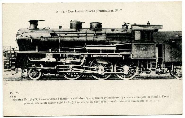 Les locomotives françaises FLEURY - PO D 14  machine n° 1584 S  à surchauffeur