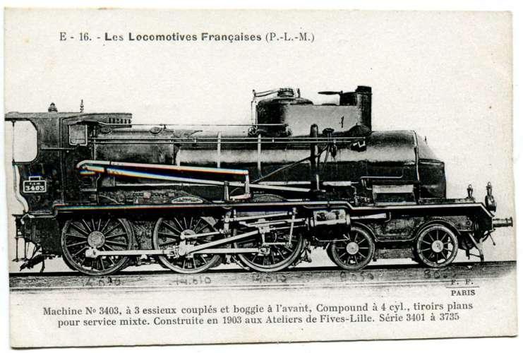 Les locomotives françaises FLEURY - PLM E 16 machine 3403 à 3 essieux couplés