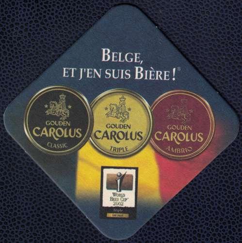 Belgique Sous Bock Bière Beer Beermat Gouden Carolus Belge et j'en suis bière