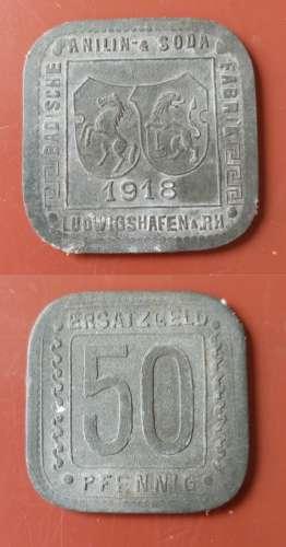 ALLEMAGNE - Guerre - 1918 - 50 Pfennig Erzatzgeld - Ludwigshaffen