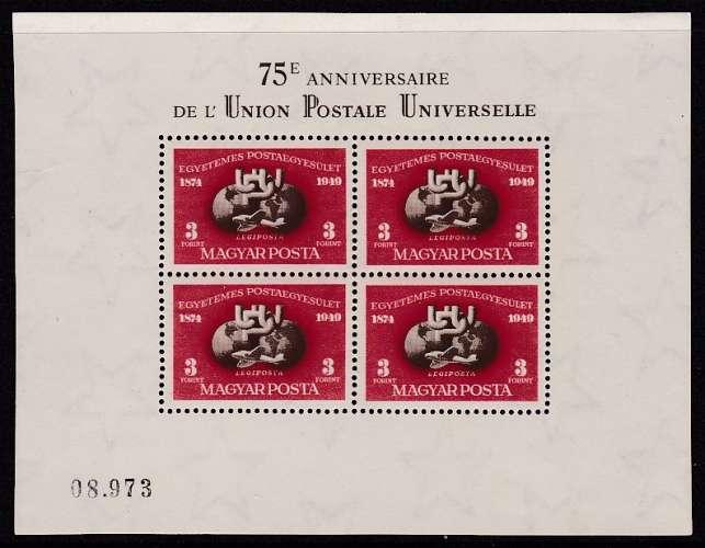 FEUILLET NEUF DE HONGRIE - 75E ANNIVERSAIRE DE L'UNION POSTALE UNIVERSELLE N° Y&T PA 90A