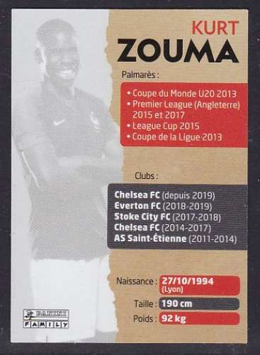 CARTE PANINI INTERMARCHE - AU PLUS PRES DES BLEUS N°9 : KURT ZOUMA
