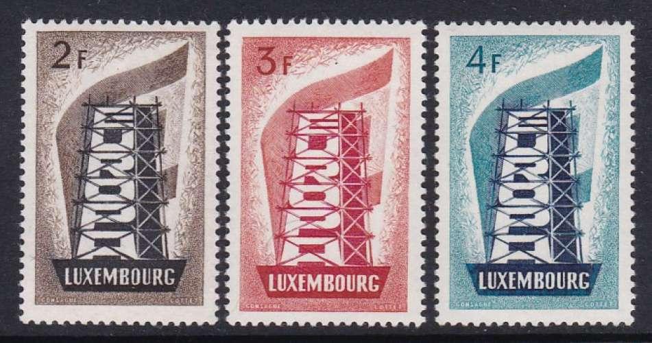 SERIE NEUVE DU LUXEMBOURG - EUROPA 1956 N° Y&T 514 A 516