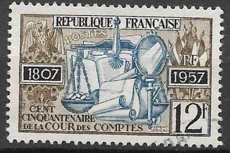 France 1957 Y&T 1107 oblitéré - Cour des comptes