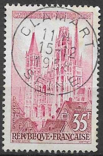 France 1957 Y&T 1129 oblitéré - Cathédrale de Rouen