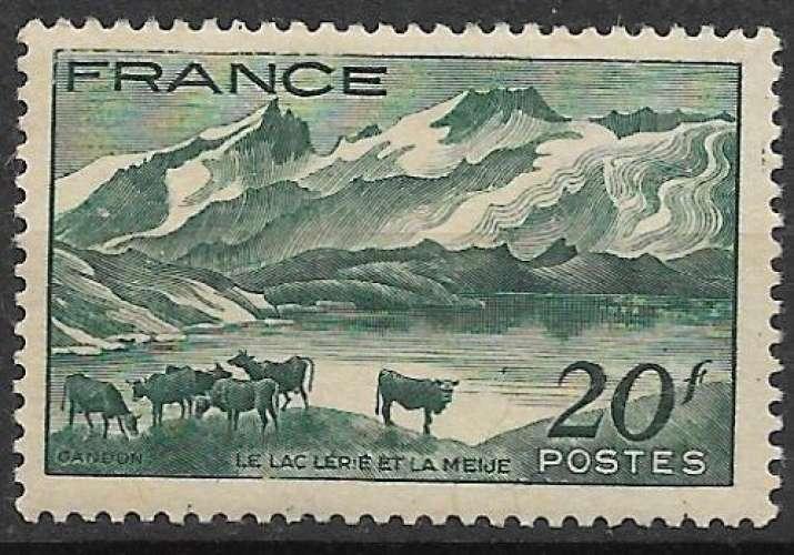 France 1943 Y&T 582 neuf avec charnière - Lac Lérié (scan dos)