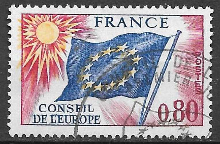 France Service 1975 Y&T 47 oblitéré - Drapeau du Conseil