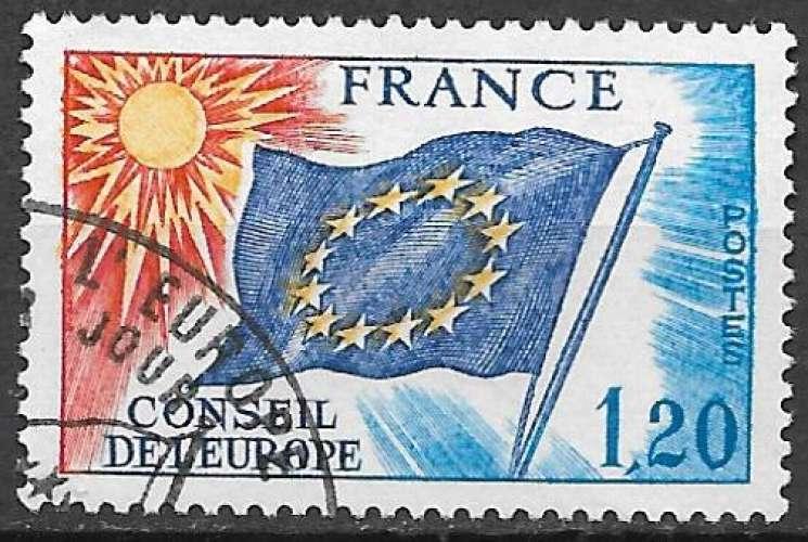 France Service 1975 Y&T 48 oblitéré - Drapeau du Conseil