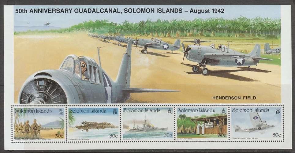 2 FEUILLETS NEUFS DES ILES SALOMON - CINQUANTENAIRE DE LA BATAILLE DE GUADALCANAL N° Y&T 752 A 766