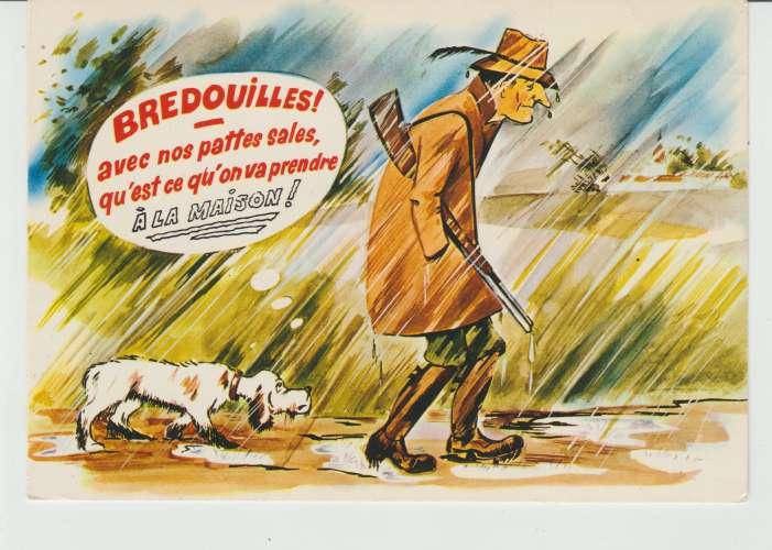 CPSM ILLUSTRATEUR R. ALLOUIN : BREDOUILLES ! AVEC NOS PATTES SALES QU'EST-CE QU'ON VA PRENDRE A LA M