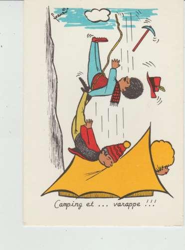 CPSM ILLUSTRATEUR FRANCIS : CAMPING et...VARAPPE !!!