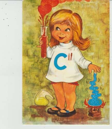 CPSM ILLUSTRATEUR M. SECCIA : FILLETTE CHIMISTE