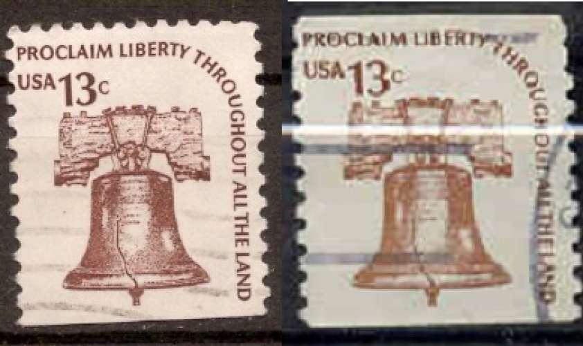 Etats Unis 1975 YT 1074-1074a Obl Cloche de la liberté