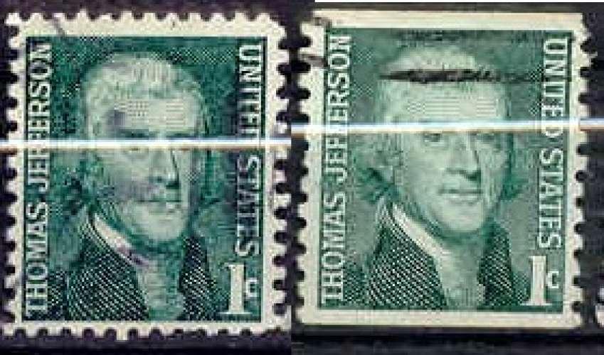 Etats Unis 1967 YT 816-816a Obl Jefferson