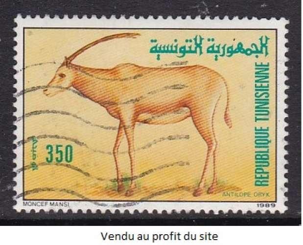 TIMBRE OBLITERE DE TUNISIE - ANTILOPE ORYX N° Y&T 1132