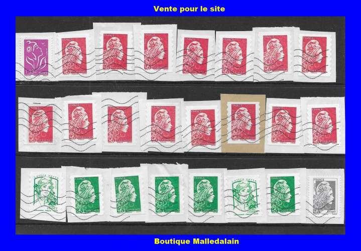 FRANCE - Oblitéré sur fragment - Lot de 24 timbres - Marianne courante- TCA 138
