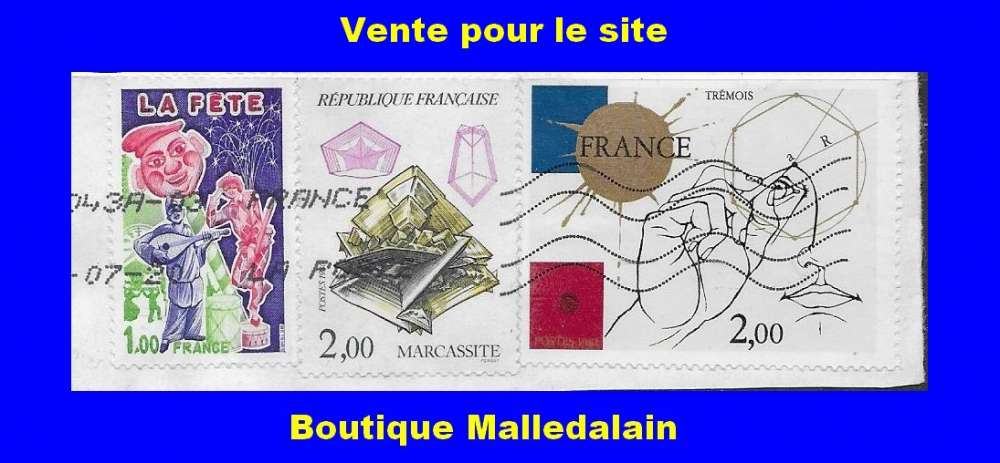 FRANCE - Oblitéré sur fragment - YT 1888 Fête 2429 Marcassite 2141 France - TCA 141