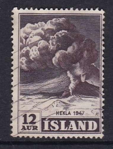 TIMBRE OBLITERE D'ISLANDE - COMMEMORATION DE L'ERUPTION DU VOLCAN HEKLA EN 1947 N° Y&T 208