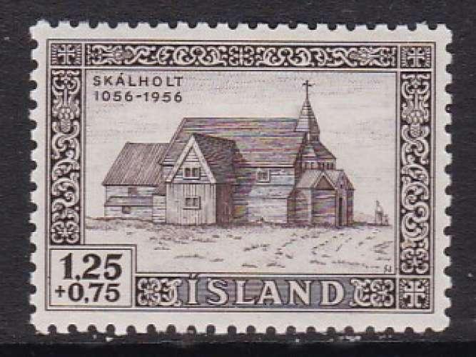 TIMBRE OBLITERE D'ISLANDE - CATHEDRALE (EN BOIS) DE SKALHOLT N° Y&T 259