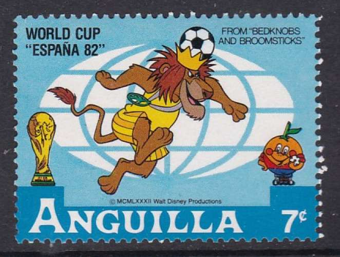 TIMBRE NEUF D'ANGUILLA - WALT DISNEY : LA COURONNE DU ROI DES ANIMAUX (ESPANA'82) N° Y&T 460