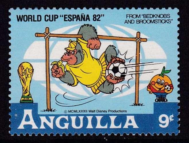 TIMBRE NEUF D'ANGUILLA - WALT DISNEY : GORILLE, GARDIEN DE BUT (ESPANA'82) N° Y&T 461