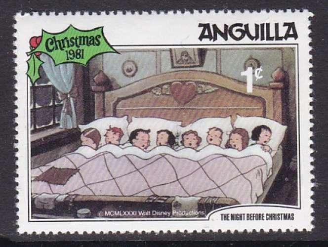 TIMBRE NEUF D'ANGUILLA - NOËL 1981 : ENFANTS ENDORMIS (WALT DISNEY) N° Y&T 416