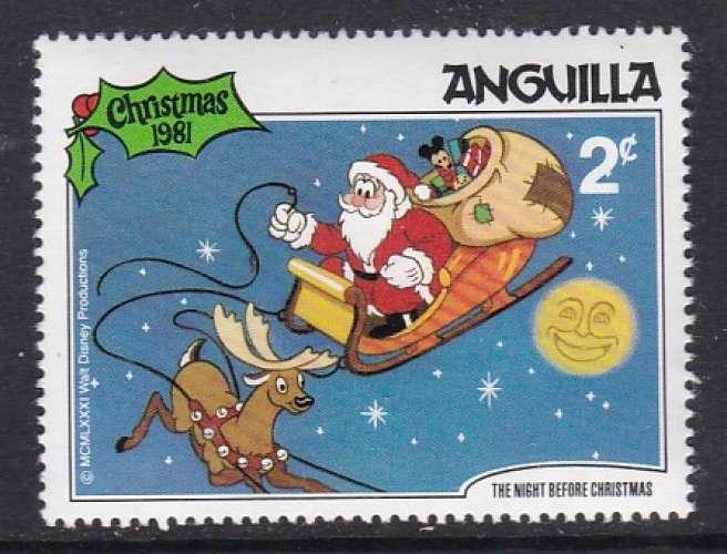 TIMBRE NEUF D'ANGUILLA - NOËL 1981 : PERE NOËL DANS LE CIEL (WALT DISNEY) N° Y&T 417