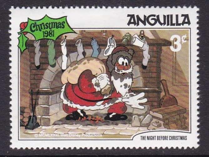 TIMBRE NEUF D'ANGUILLA - NOËL 1981 : AU PIED DE LA CHEMINEE (WALT DISNEY) N° Y&T 418