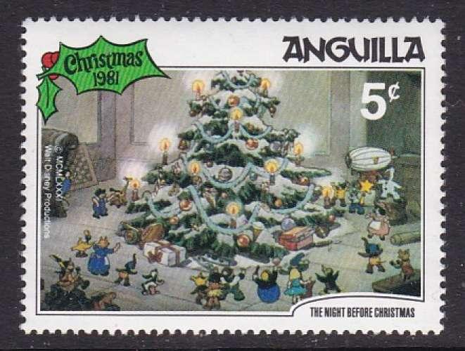TIMBRE NEUF D'ANGUILLA - NOËL 1981 : L'ARBRE DE NOËL REVE (WALT DISNEY) N° Y&T 419