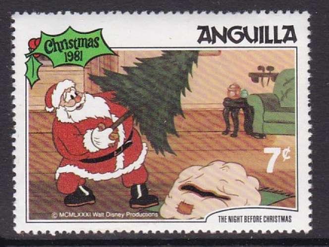 TIMBRE NEUF D'ANGUILLA - NOËL 1981 : LE SAPIN DU PERE NOËL (WALT DISNEY) N° Y&T 420