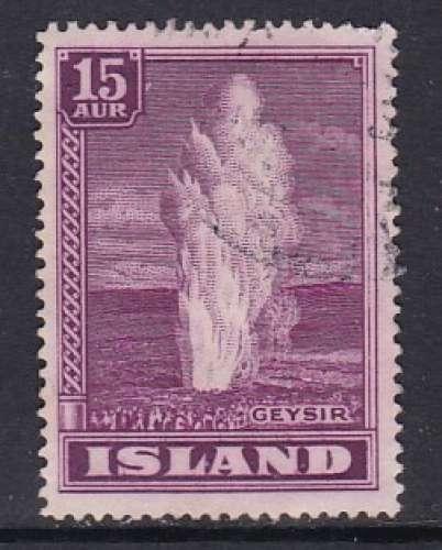 TIMBRE OBLITERE D'ISLANDE - GEYSER N° Y&T 176