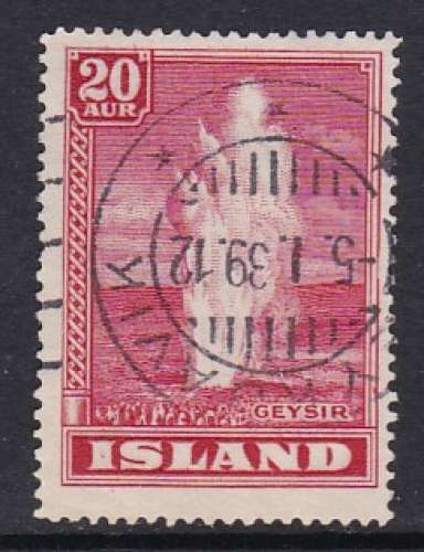 TIMBRE OBLITERE D'ISLANDE - GEYSER N° Y&T 177
