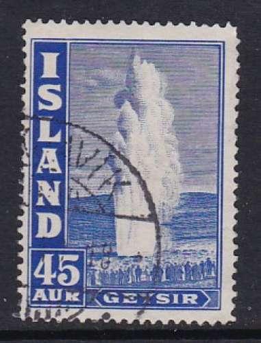 TIMBRE OBLITERE D'ISLANDE - GEYSER N° Y&T 195