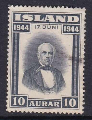 TIMBRE OBLITERE D'ISLANDE - PROCLAMATION DE LA REPUBLIQUE : SIGURDSSON N° Y&T 202