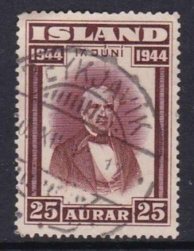 TIMBRE OBLITERE D'ISLANDE - PROCLAMATION DE LA REPUBLIQUE : SIGURDSSON N° Y&T 203