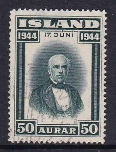 TIMBRE OBLITERE D'ISLANDE - PROCLAMATION DE LA REPUBLIQUE : SIGURDSSON N° Y&T 204