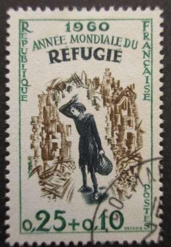 FRANCE N°1253 Année mondiale du réfugié oblitéré