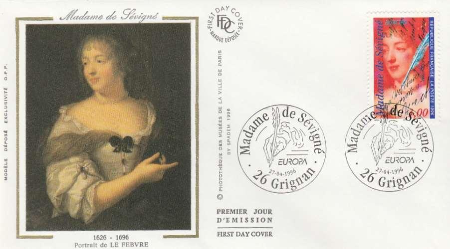 FDC - France - YT N° 3000A - Madame de Sévigné - Premier jour Grignan 1996