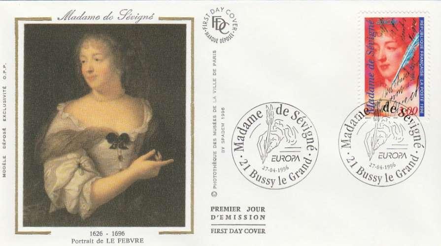 FDC - France - YT N° 3000A - Madame de Sévigné - Premier jour Bussy le Grand 1996